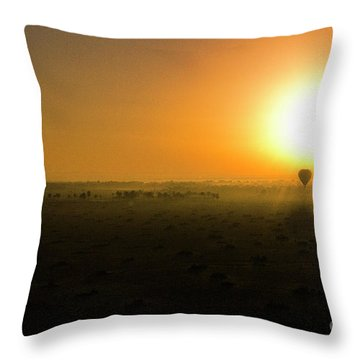 Throw Pillow featuring the photograph African Balloon Sunrise by Karen Lewis