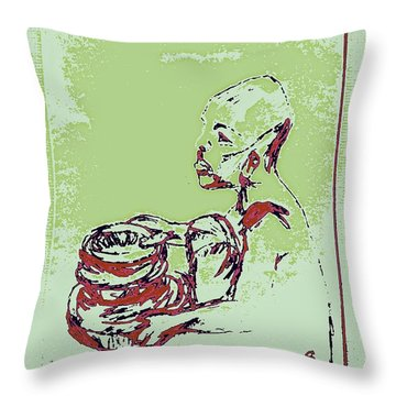 African Boy Blue Throw Pillow by Sheri Buchheit