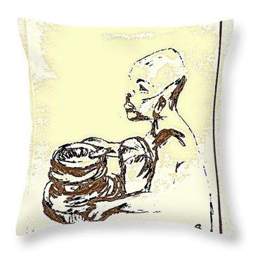 African Boy Brown Throw Pillow by Sheri Buchheit