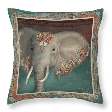 Throw Pillow featuring the painting African Bull Elephant - Kashmir Paisley Tribal Pattern Safari Home Decor by Audrey Jeanne Roberts