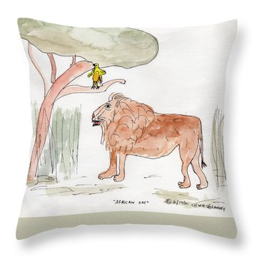 African Cat Throw Pillow