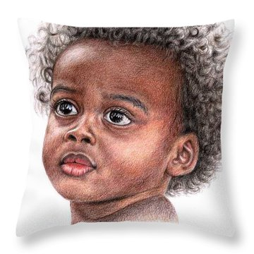 African Child Throw Pillow by Nicole Zeug