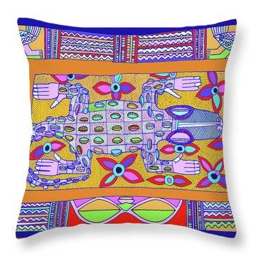 Throw Pillow featuring the digital art African Croc Beach Bum by Vagabond Folk Art - Virginia Vivier