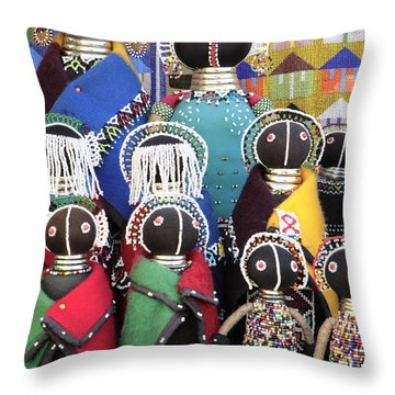 African Dolls Throw Pillow by Neil Overy