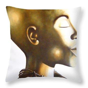 African Elegance Sepia - Original Artwork Throw Pillow