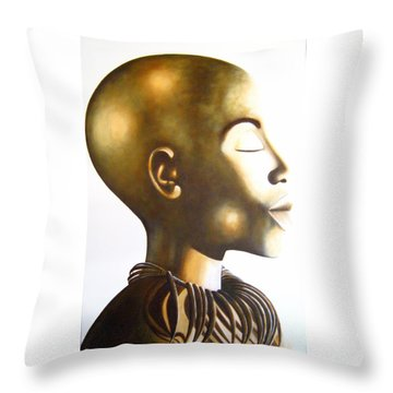 African Elegance Sepia - Original Artwork Throw Pillow