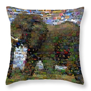 Throw Pillow featuring the mixed media African Elephant Wild Animal Mosaic by Paul Van Scott