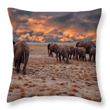African Elephants Throw Pillow