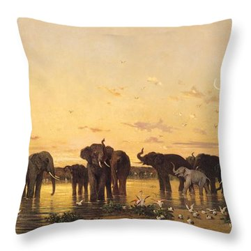 African Elephants Throw Pillow by Charles Emile de Tournemine