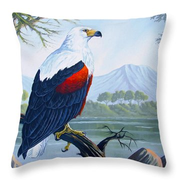 Throw Pillow featuring the painting African Fish Eagle by Anthony Mwangi
