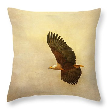 African Fish Eagle Throw Pillow by Kathy Adams Clark