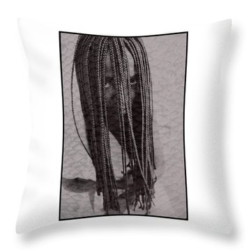 African Girl With Brfaids Throw Pillow by Michael Edwards