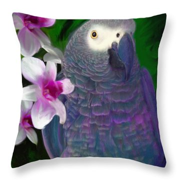 African Grey  Throw Pillow by Julianne  Ososke