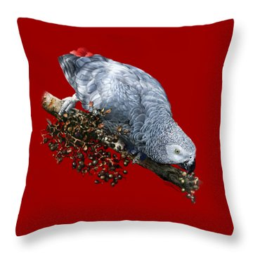 African Grey Parrot A Throw Pillow by Owen Bell