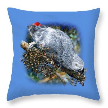 African Grey Parrot A1 Throw Pillow by Owen Bell