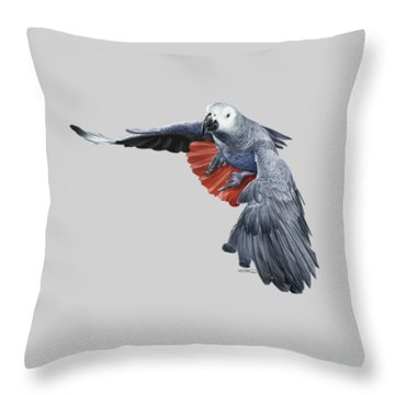 African Grey Parrot Flying Throw Pillow by Owen Bell