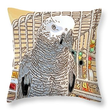 African Grey Parrot In Pencil Throw Pillow