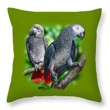 African Grey Parrots A Throw Pillow by Owen Bell