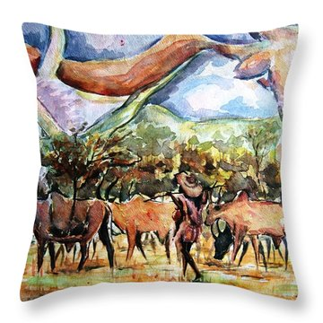 African Herdsmen Throw Pillow