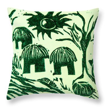 African Huts Throw Pillow by Caroline Street
