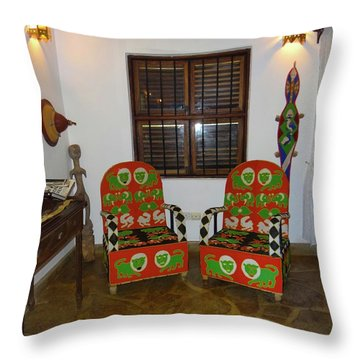 African Interior Design 5 Beaded Chairs Throw Pillow