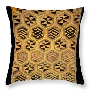 Throw Pillow featuring the digital art African Kuba Cloth Print by Vagabond Folk Art - Virginia Vivier