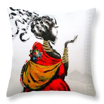 African Lady And Baby Throw Pillow
