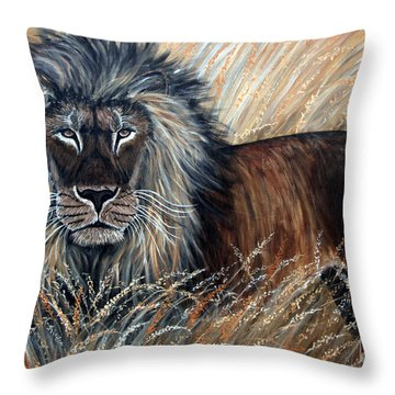 African Lion 2 Throw Pillow by Nick Gustafson