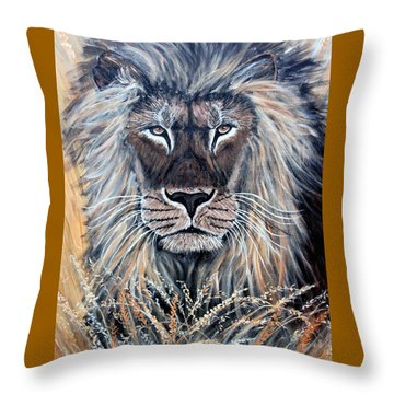 African Lion Throw Pillow by Nick Gustafson