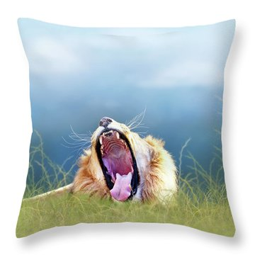 African Lion Yawning In Tall Grass Throw Pillow