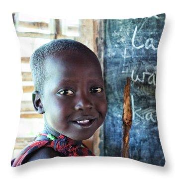 Maasai School Child Throw Pillow