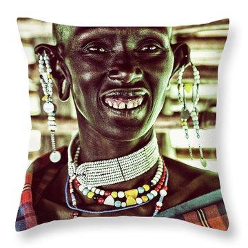 African Maasai Teacher Throw Pillow