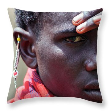 African Maasai Warrior Throw Pillow by Amyn Nasser