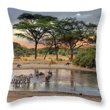 African Safari Wildlife At The Waterhole Throw Pillow
