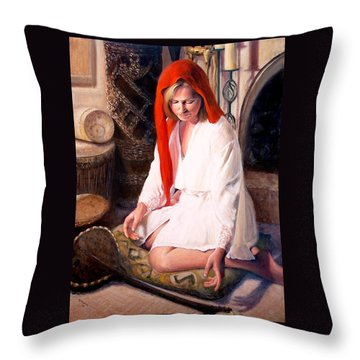 Throw Pillow featuring the painting African Strings 4 by Donelli  DiMaria