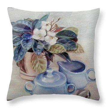 African Violet Still Life Throw Pillow