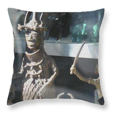 African Warrior Figurine Throw Pillow