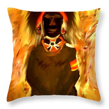 African Warrior Throw Pillow by Kelly Turner