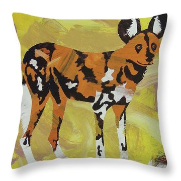 Throw Pillow featuring the painting African Wild Dog by Candace Shrope