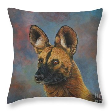 African Painted Wild Dog Throw Pillow