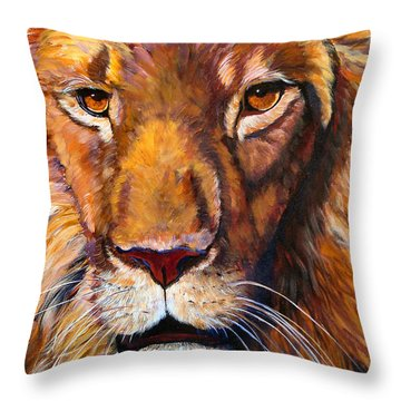 African Wilddlife Lion Faces Of Nature Series Throw Pillow