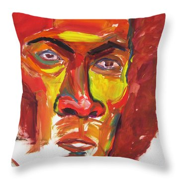 Throw Pillow featuring the painting Afro by Shungaboy X