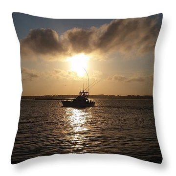 After A Long Day Of Fishing Throw Pillow