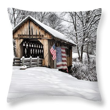 After A Winter Snow Storm Cilleyville Covered Bridge  Throw Pillow