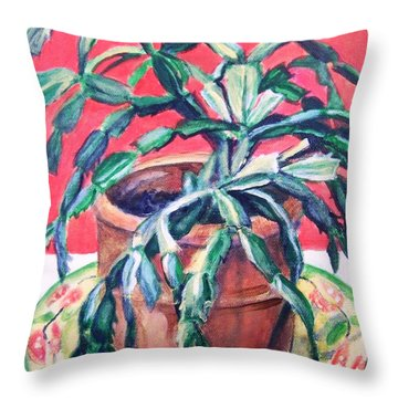 Throw Pillow featuring the painting Christmas Cactus by Laura Aceto