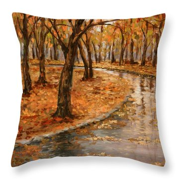 After Rain,walk In The Central Park Throw Pillow