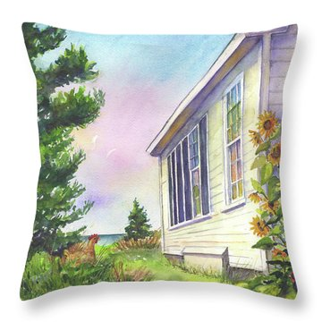 Throw Pillow featuring the painting After School Activities At Monhegan School House by Susan Herbst