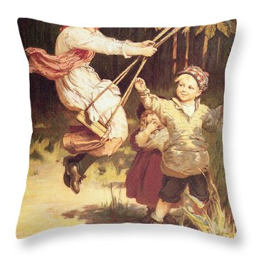 After School Throw Pillow by Frederick Morgan