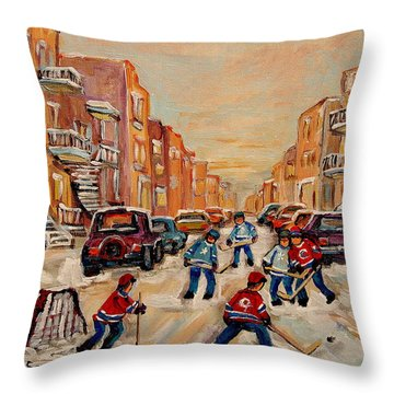 Throw Pillow featuring the painting After School Hockey Game by Carole Spandau