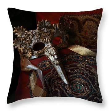 After The Ball - Venetian Mask Throw Pillow by Yvonne Wright